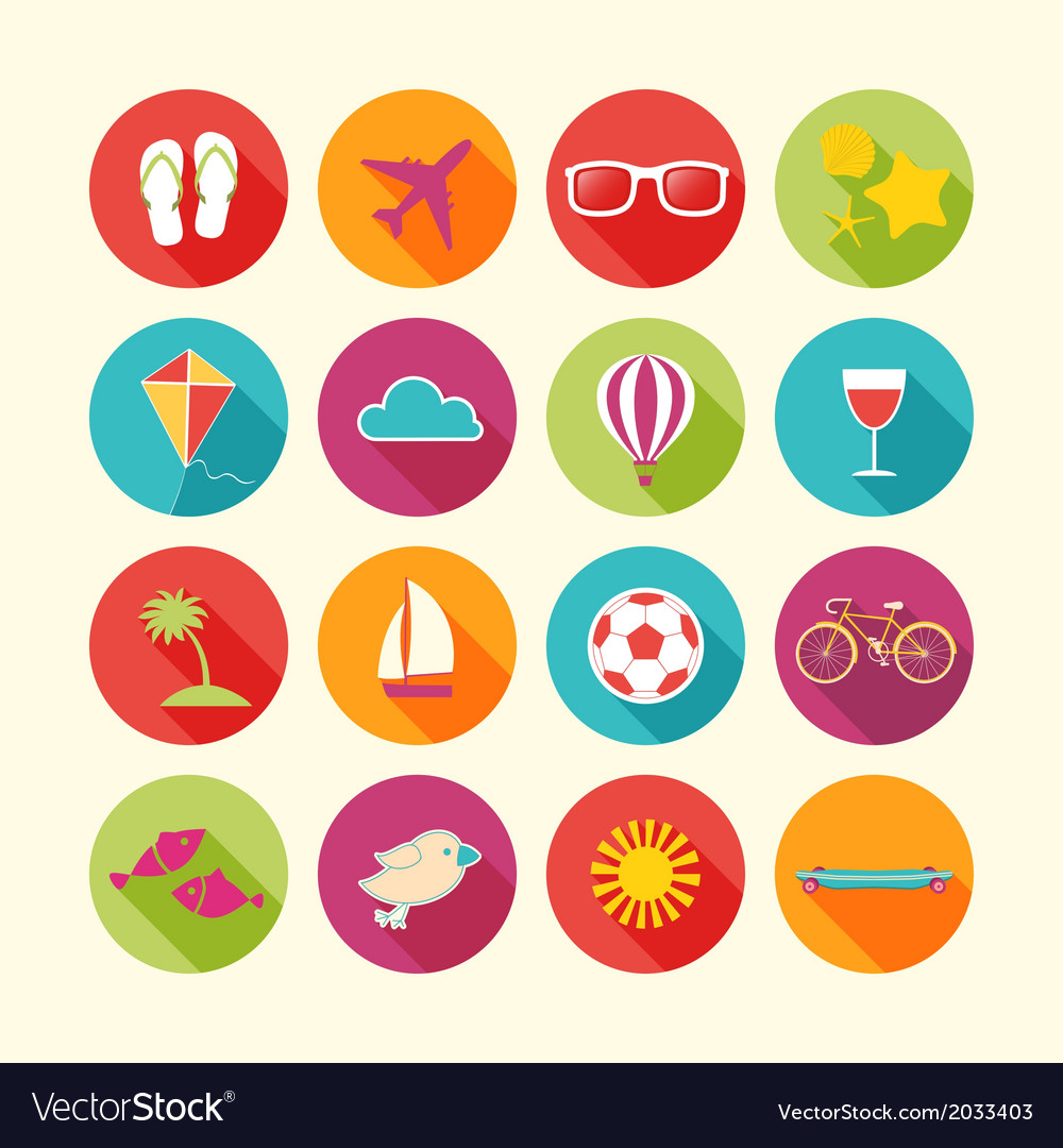 Set of summer objects vector | Price: 1 Credit (USD $1)