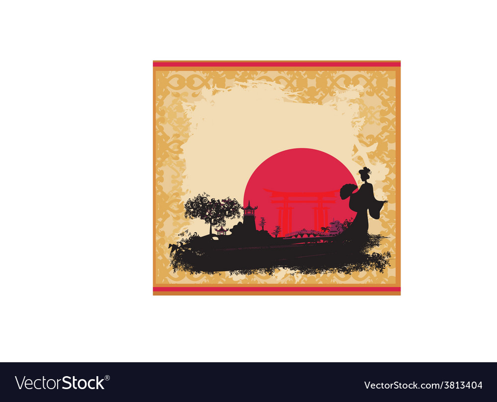 Abstract asian landscape and beautiful asian vector | Price: 1 Credit (USD $1)