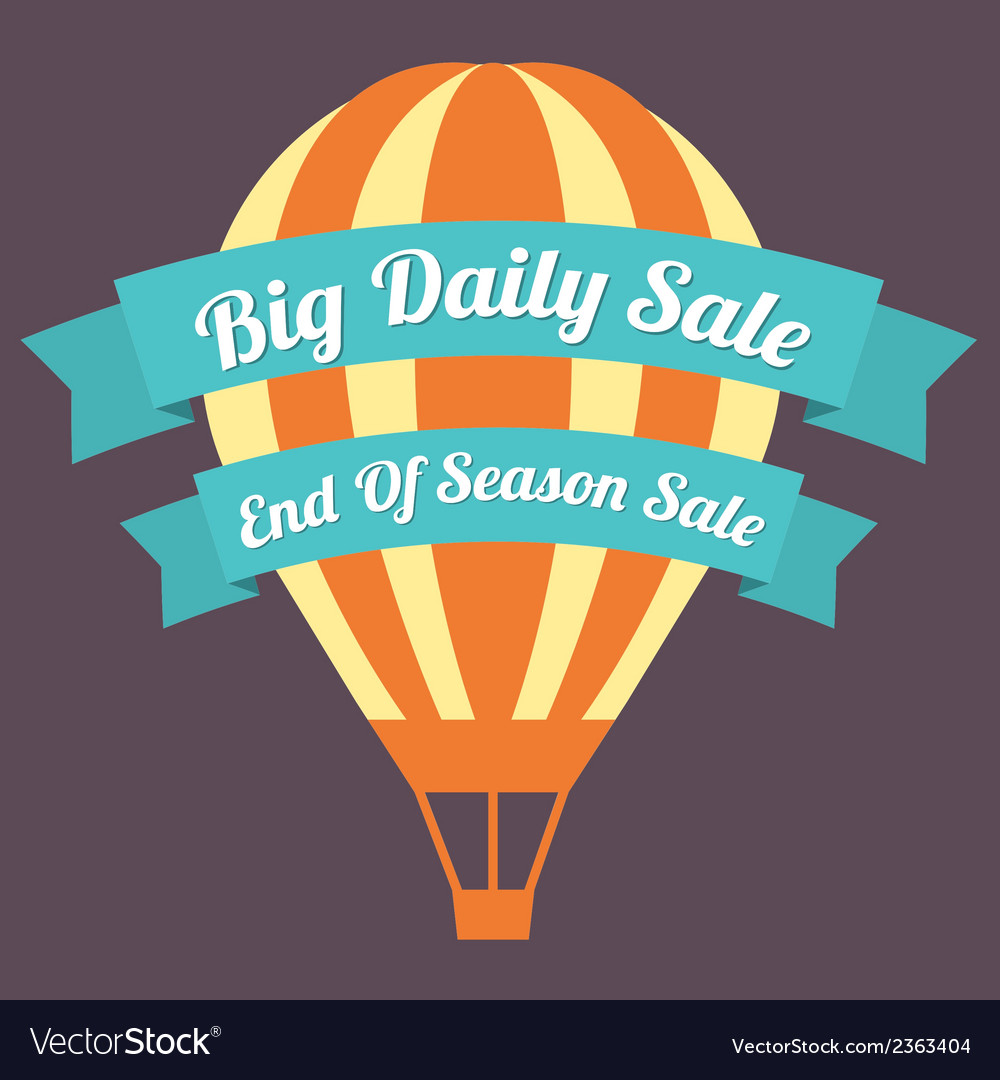 Big day sale hot air balloon vector | Price: 1 Credit (USD $1)