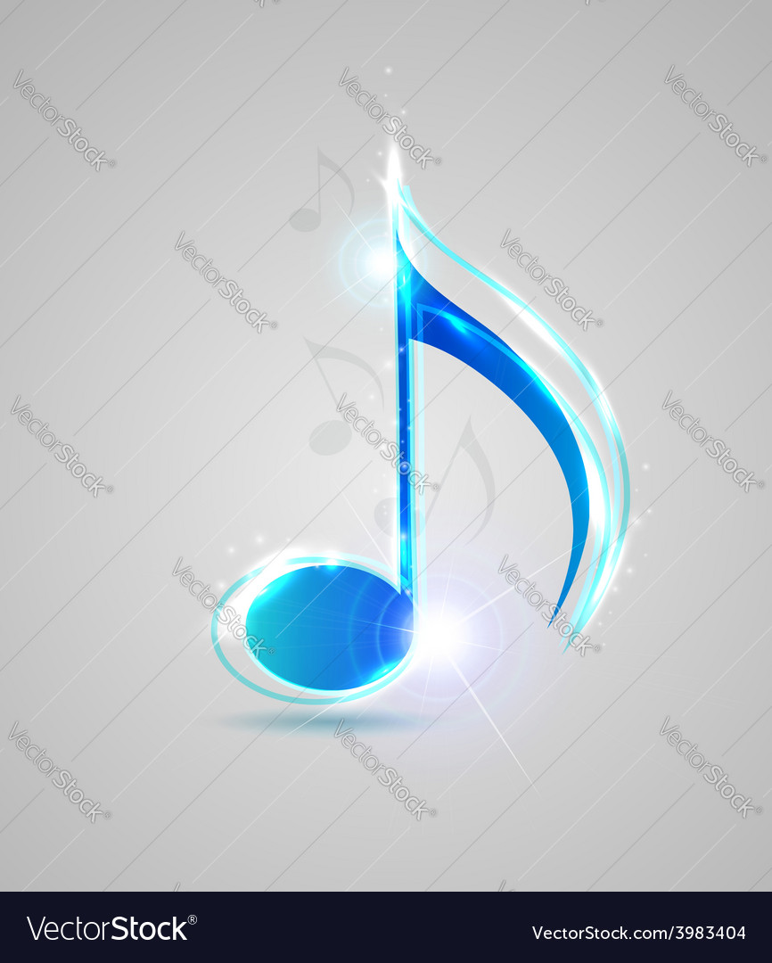 Blue shining note vector | Price: 1 Credit (USD $1)