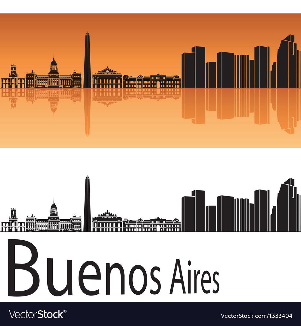 Buenos aires skyline in orange background vector | Price: 1 Credit (USD $1)