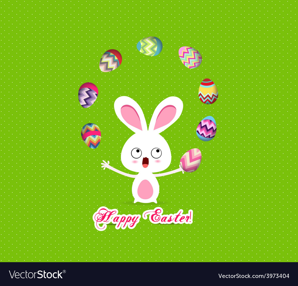 Easter bunny playful cute eggs fun humor vector | Price: 1 Credit (USD $1)