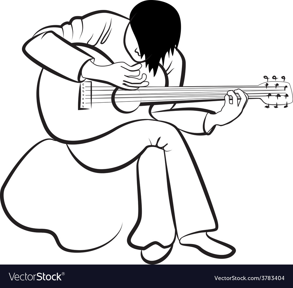Guitarist playing the guitar vector | Price: 1 Credit (USD $1)