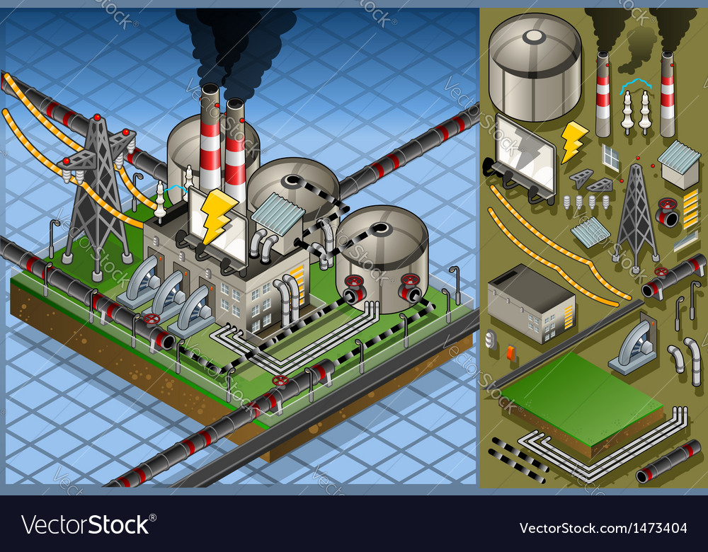Isometric petroleum plant in production of energy vector | Price: 1 Credit (USD $1)