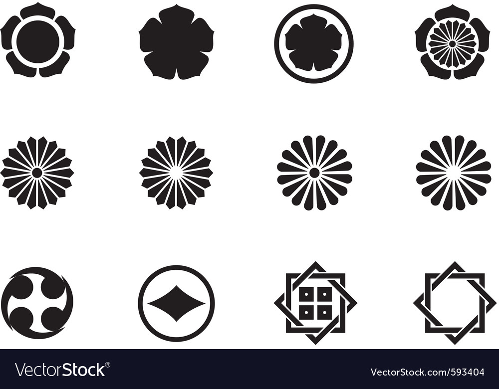 Japanese mon symbols vector | Price: 1 Credit (USD $1)