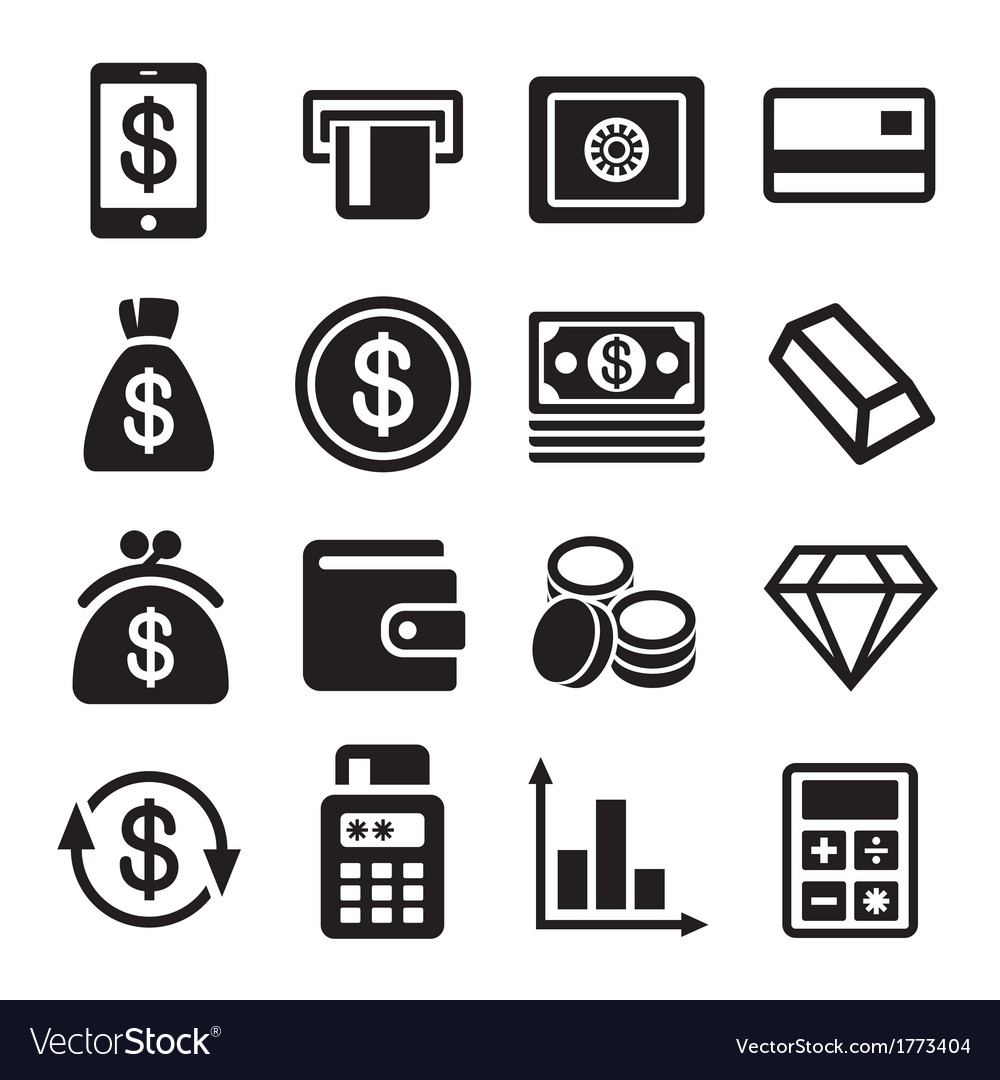 Money and bank icon set vector | Price: 1 Credit (USD $1)