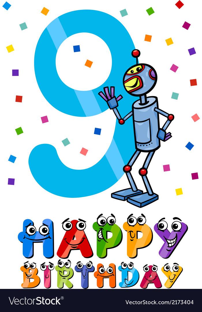 Ninth birthday cartoon design vector | Price: 1 Credit (USD $1)