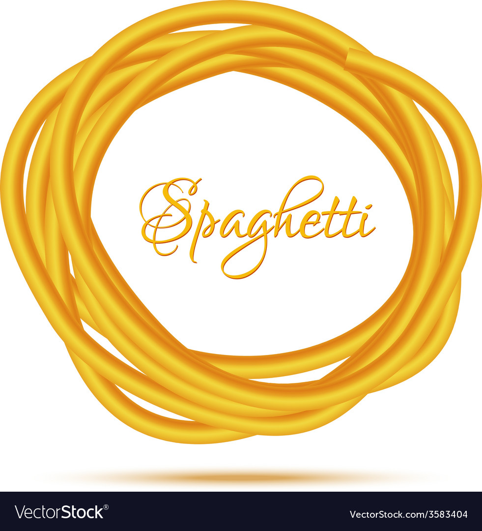 Realistic twisted spaghetti pasta circle frame vector | Price: 1 Credit (USD $1)