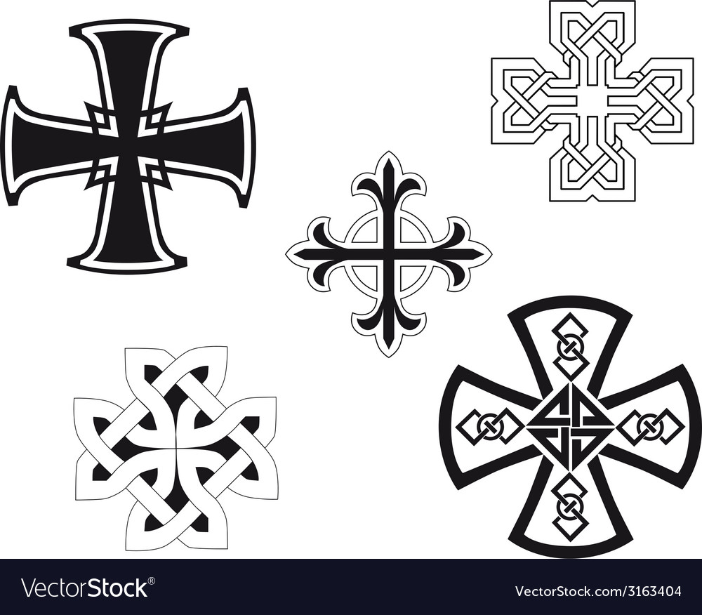 Set of religious crosses vector | Price: 1 Credit (USD $1)