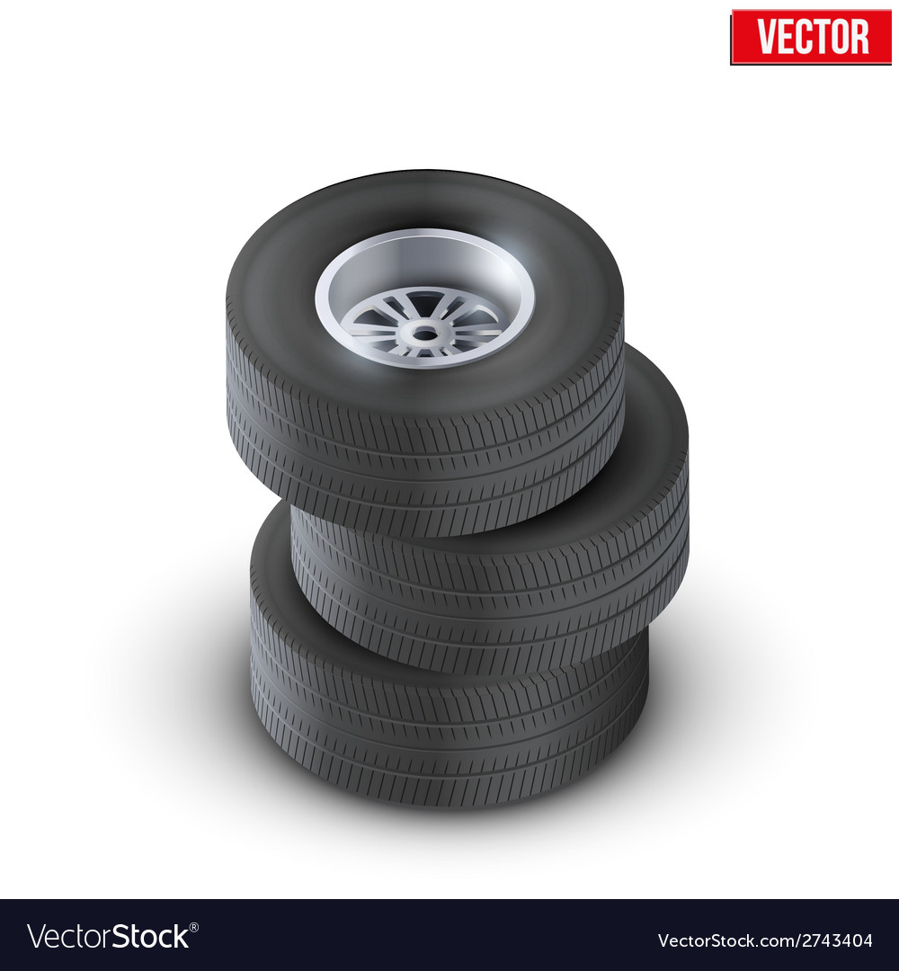 Set tires and wheels of car top view vector | Price: 1 Credit (USD $1)