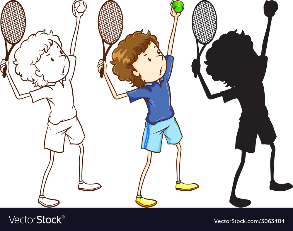 Sketches of the tennis player in three different vector | Price: 1 Credit (USD $1)