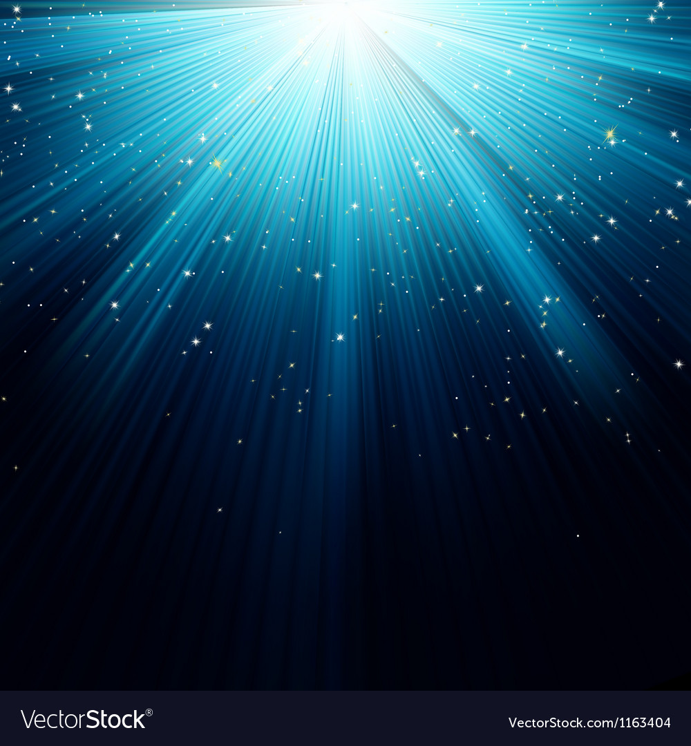Snow and stars falling on blue rays eps 8 vector   Price: 1 Credit (USD $1)