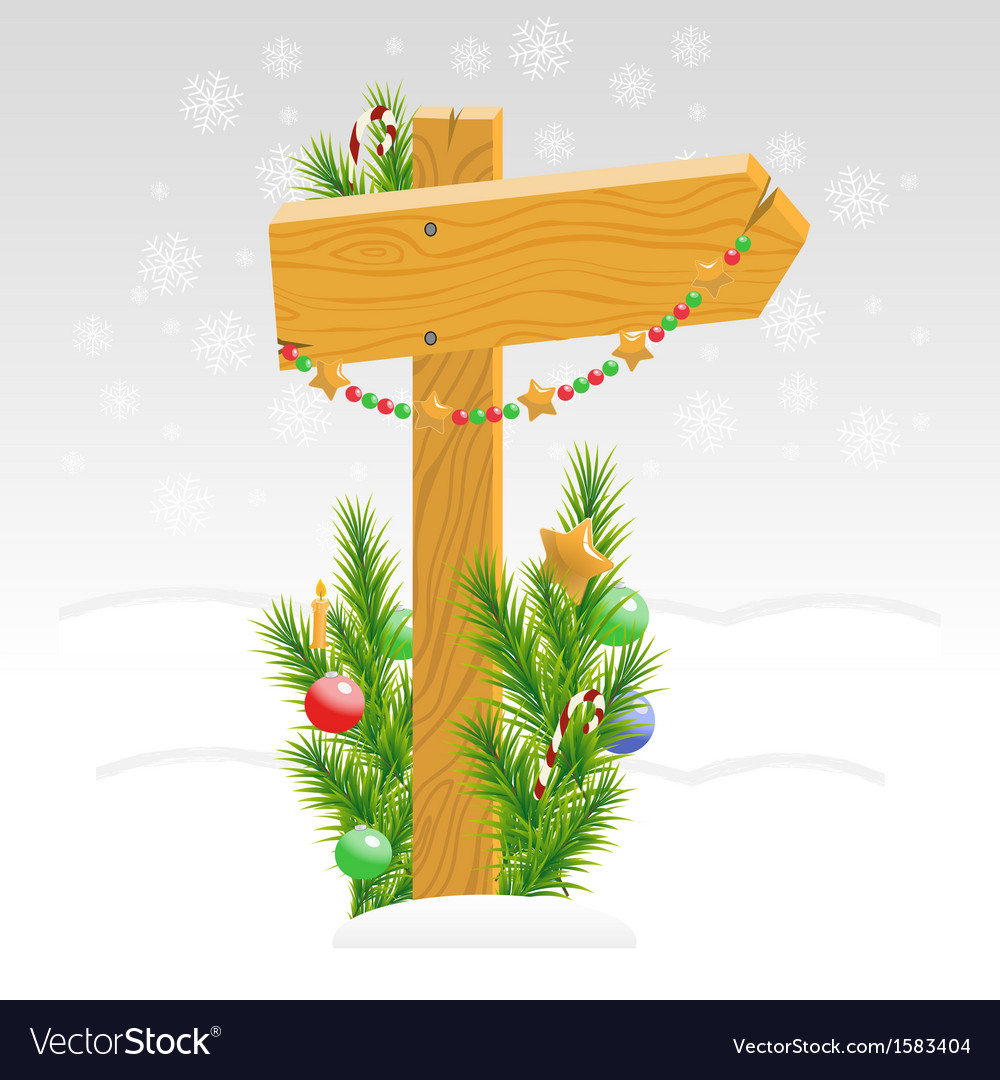 Wooden arrow decorated with christmas toys vector | Price: 1 Credit (USD $1)