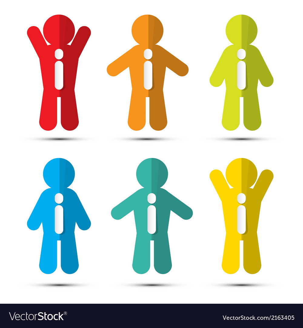 Colorful paper people icons with ties vector | Price: 1 Credit (USD $1)