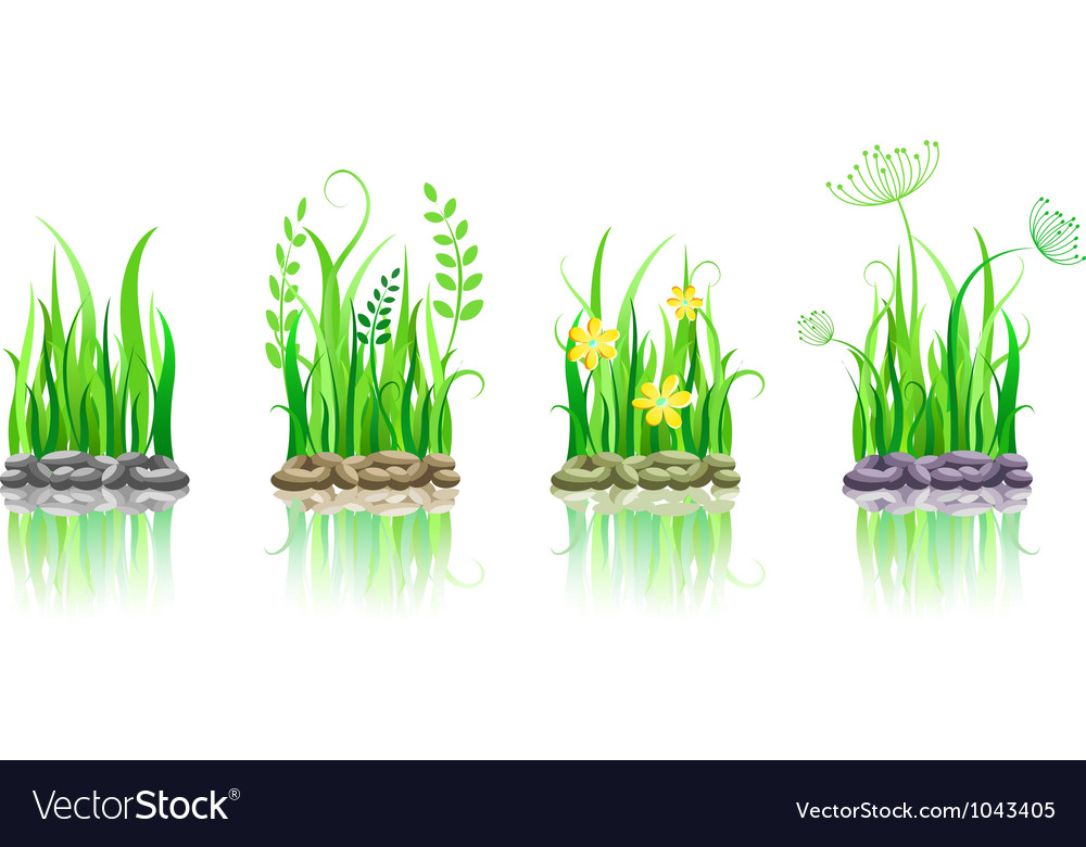 Green grass on stone ground vector | Price: 1 Credit (USD $1)