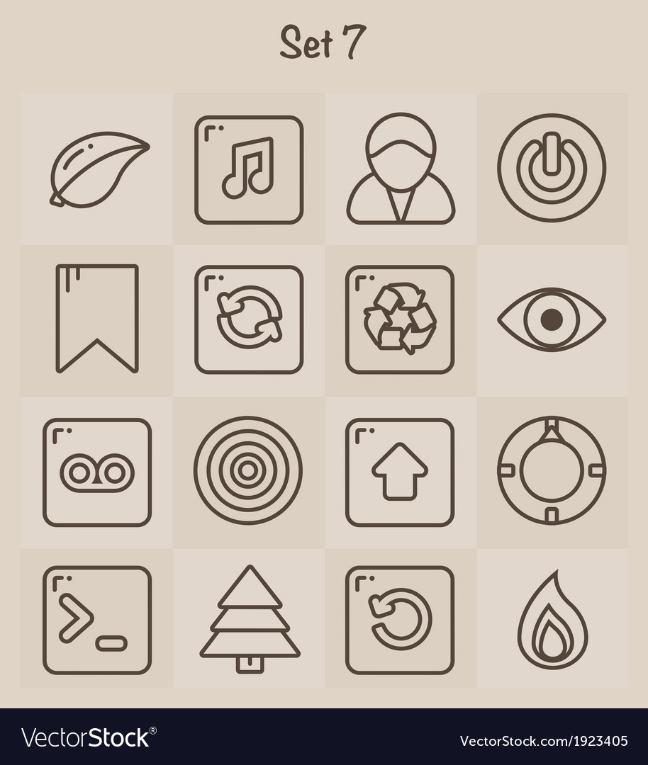 Outline icons set 7 vector | Price: 1 Credit (USD $1)