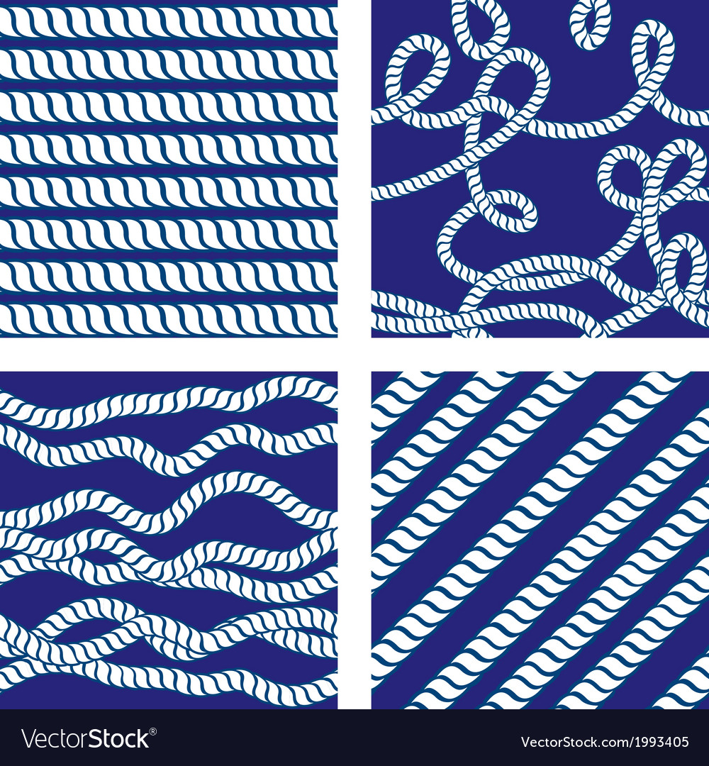 Set of seamless nautical patterns on blue backgrou vector | Price: 1 Credit (USD $1)