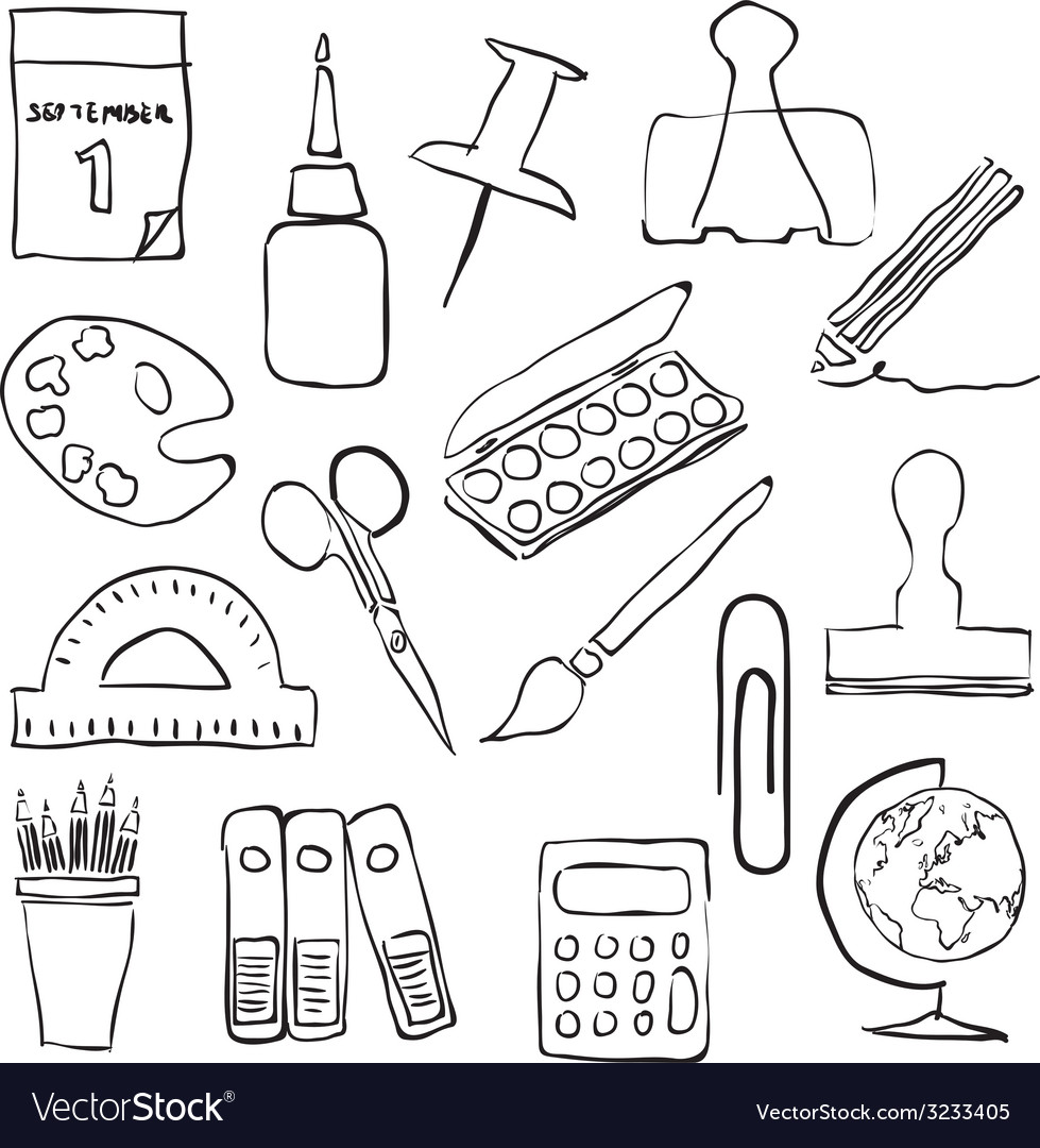 Stationery sketch images vector | Price: 1 Credit (USD $1)