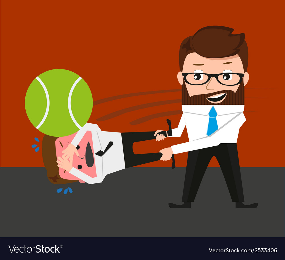 Businessman is playing tennis by bad manager vector | Price: 1 Credit (USD $1)