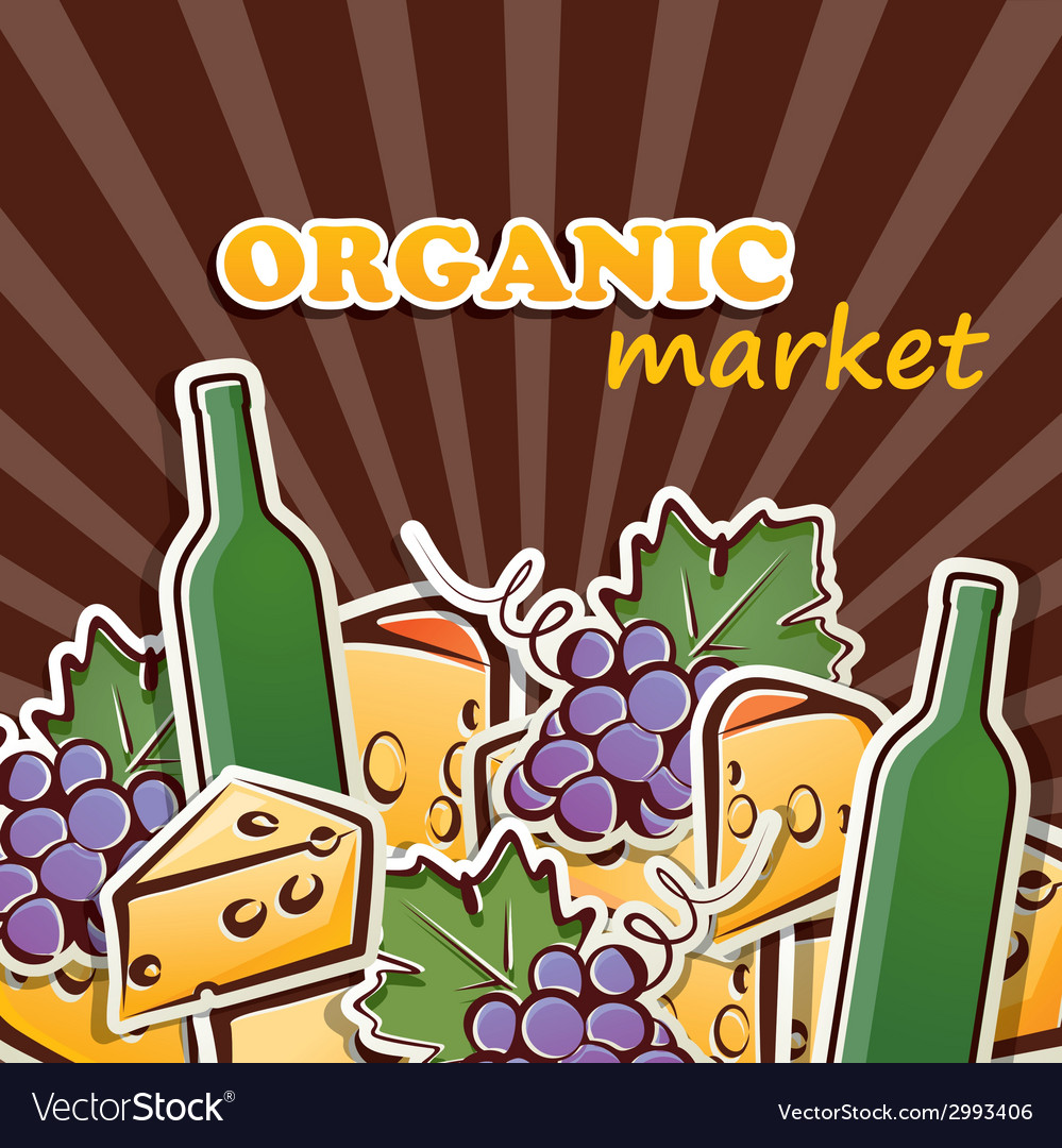 Cheese wine and grapes organic food concept vector | Price: 1 Credit (USD $1)