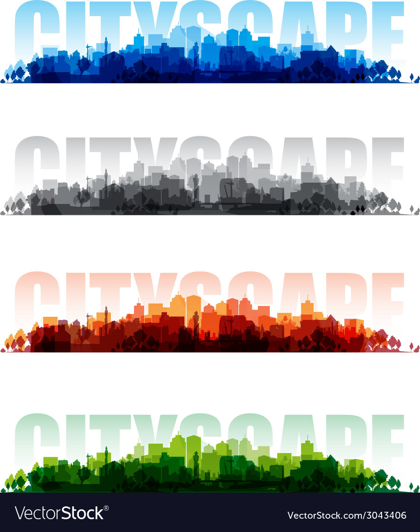 Cityscape banners vector | Price: 1 Credit (USD $1)
