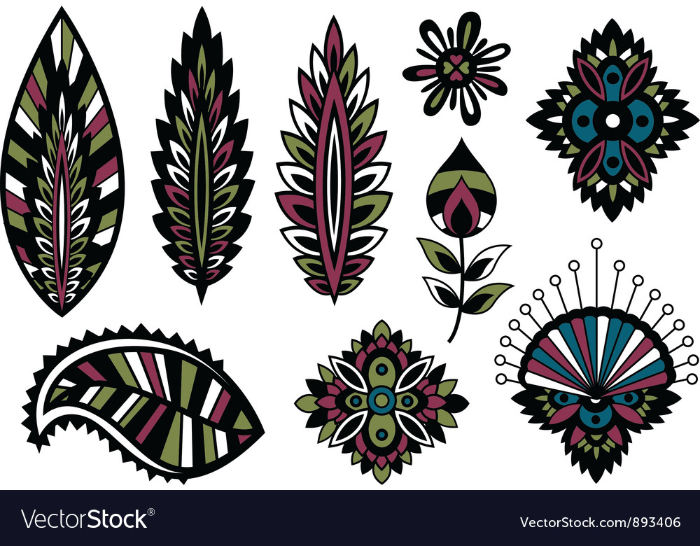 Flower element set vector | Price: 3 Credit (USD $3)