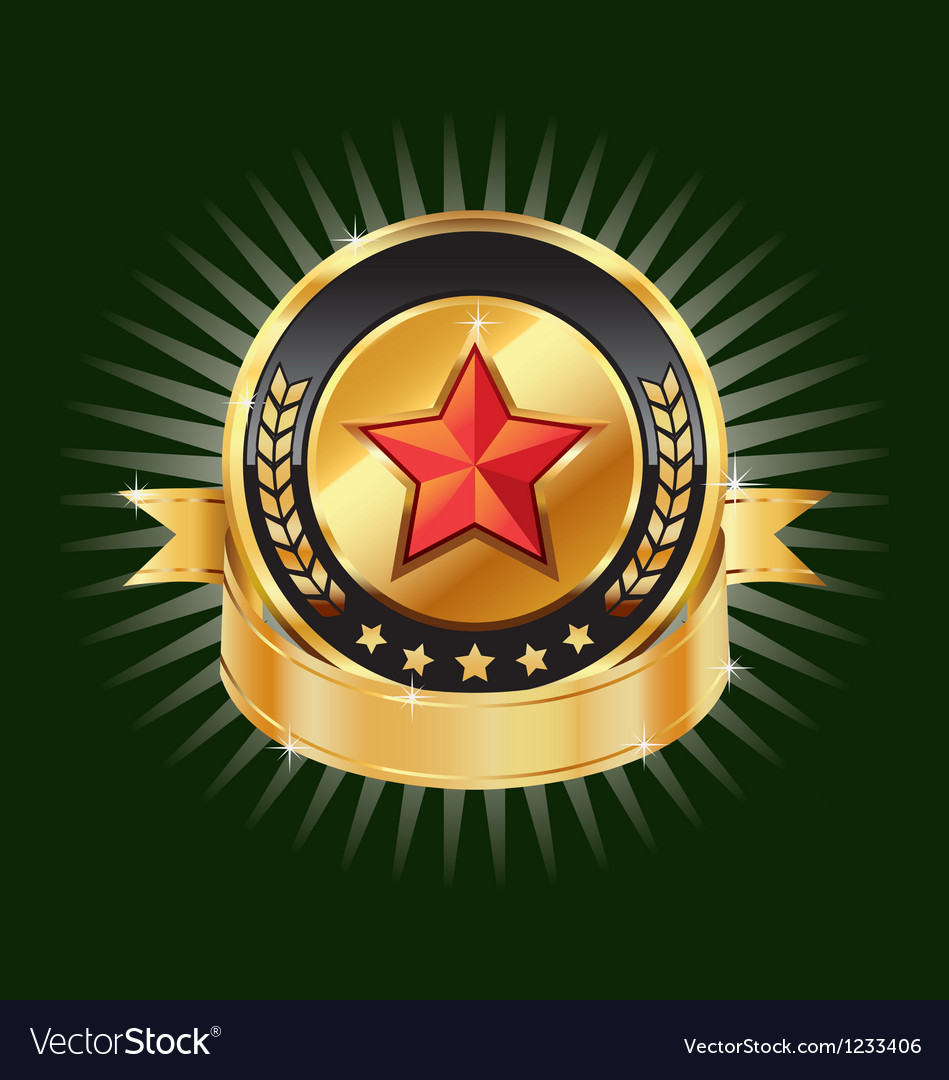 Gold emblem and red star label element vector | Price: 1 Credit (USD $1)