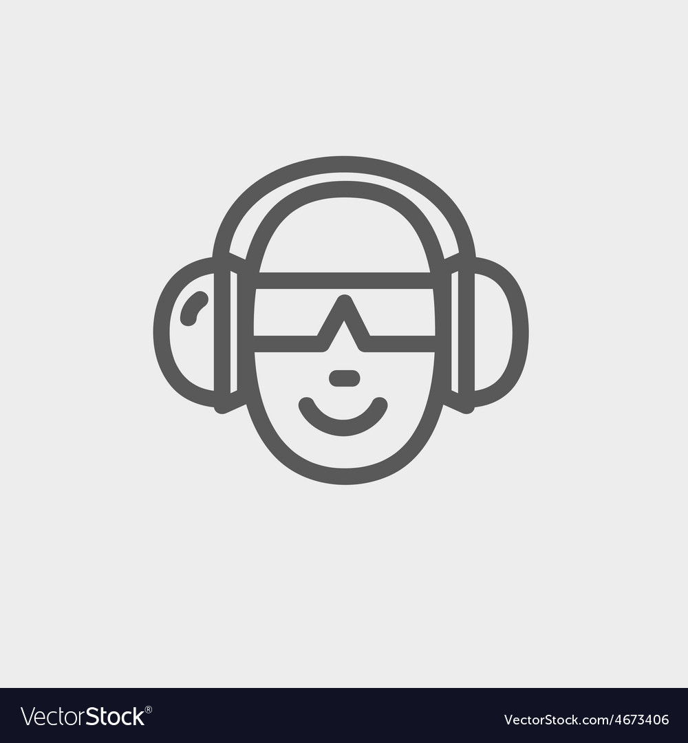 Head with headphone and sunglasses thin line icon vector | Price: 1 Credit (USD $1)