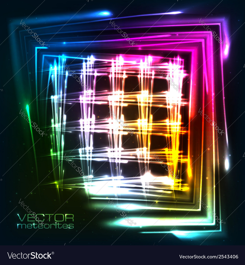 Rainbow colors shining neon lights grid vector | Price: 1 Credit (USD $1)