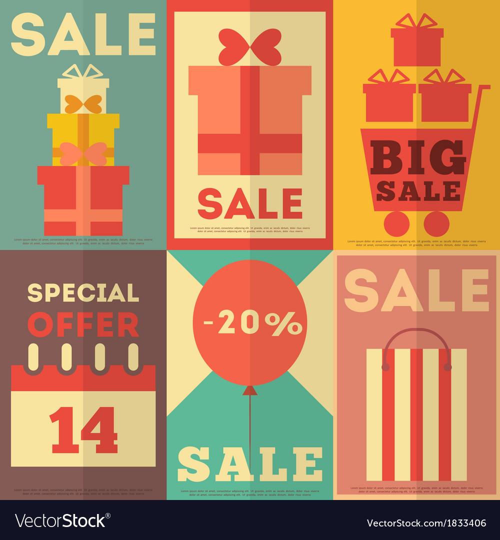 Retro sale posters vector | Price: 1 Credit (USD $1)