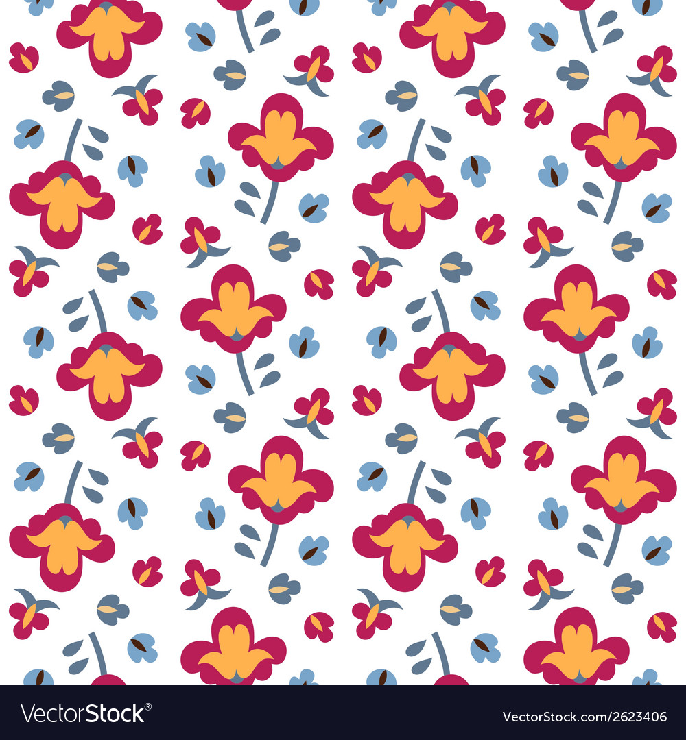Seamless color decorative flower vector | Price: 1 Credit (USD $1)