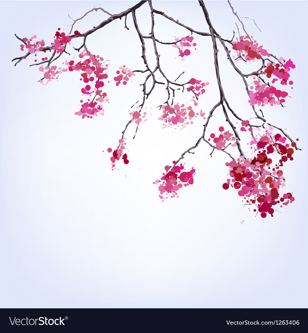 Spring blooming sakura branch of blots background vector | Price: 1 Credit (USD $1)