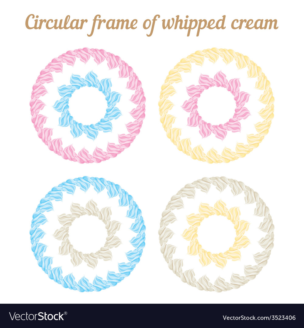 Whipped cream and circular frame set vector | Price: 1 Credit (USD $1)