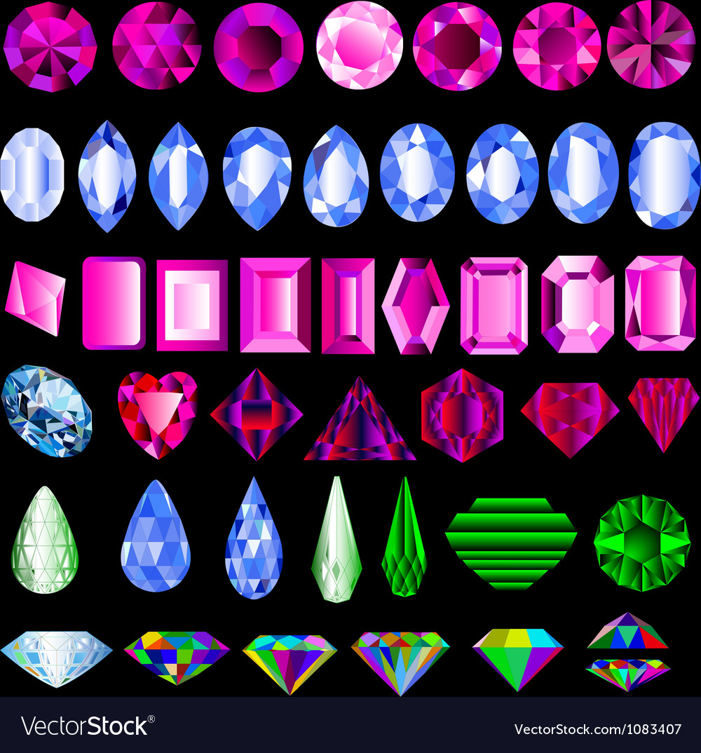 A set of precious stones of different cut vector   Price: 1 Credit (USD $1)