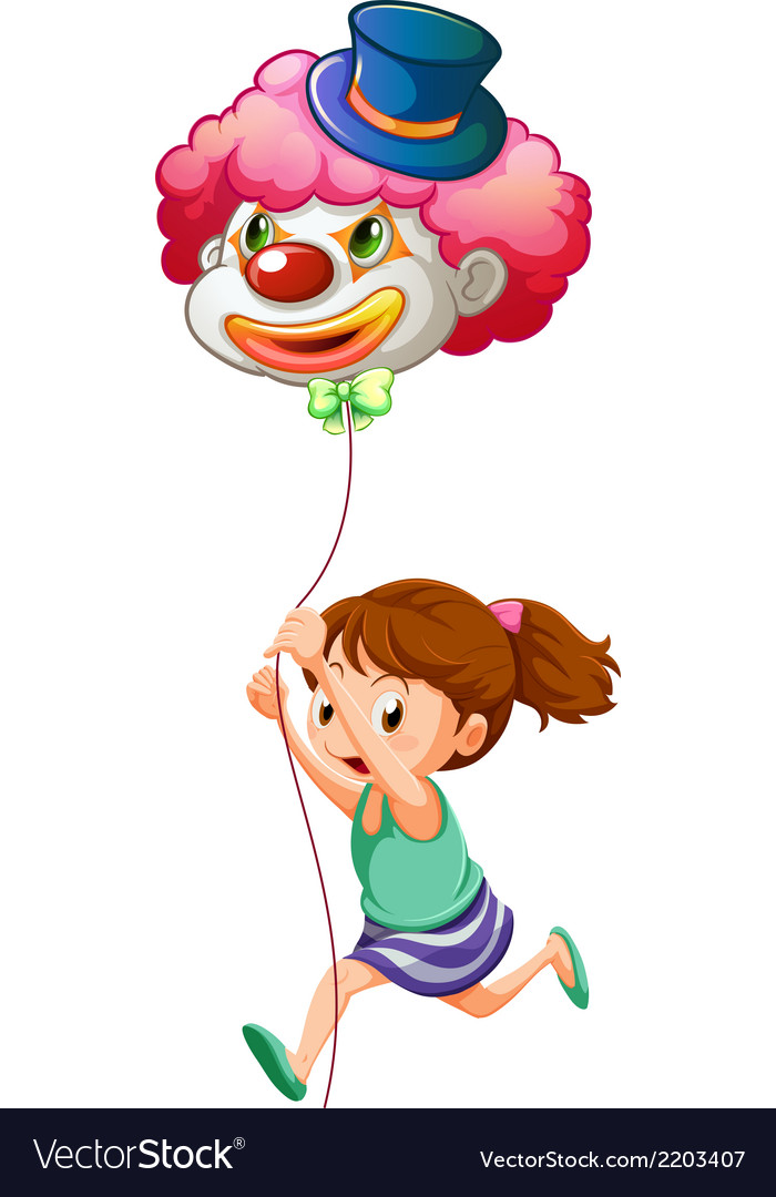 A young girl running with a clown balloon vector | Price: 1 Credit (USD $1)