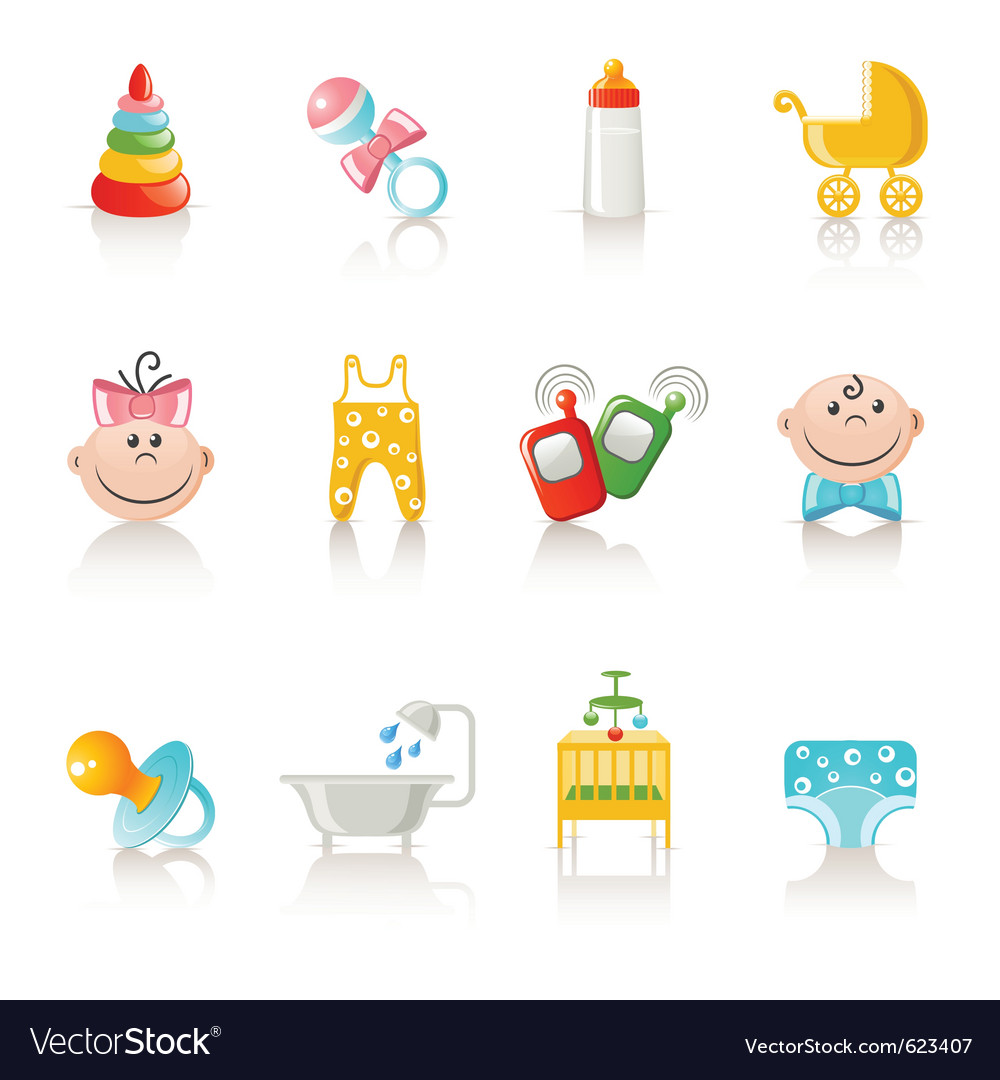 Baby clothing and accessories icons vector | Price: 3 Credit (USD $3)