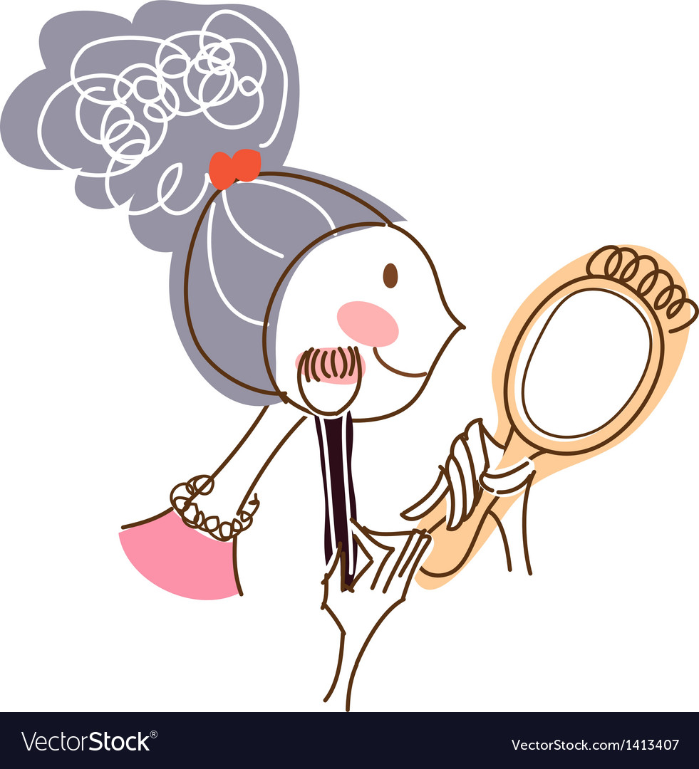 Close-up of woman holding brush vector | Price: 3 Credit (USD $3)