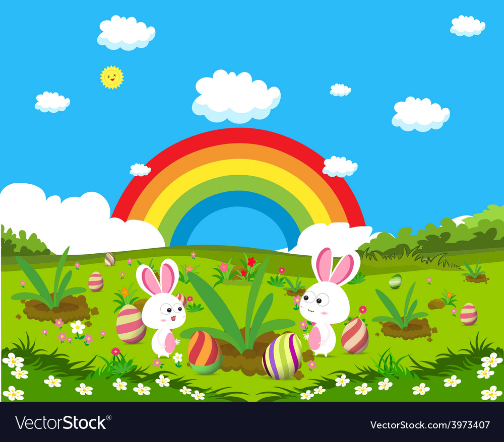 Easter eggs spring fresh grass and bunny vector | Price: 1 Credit (USD $1)