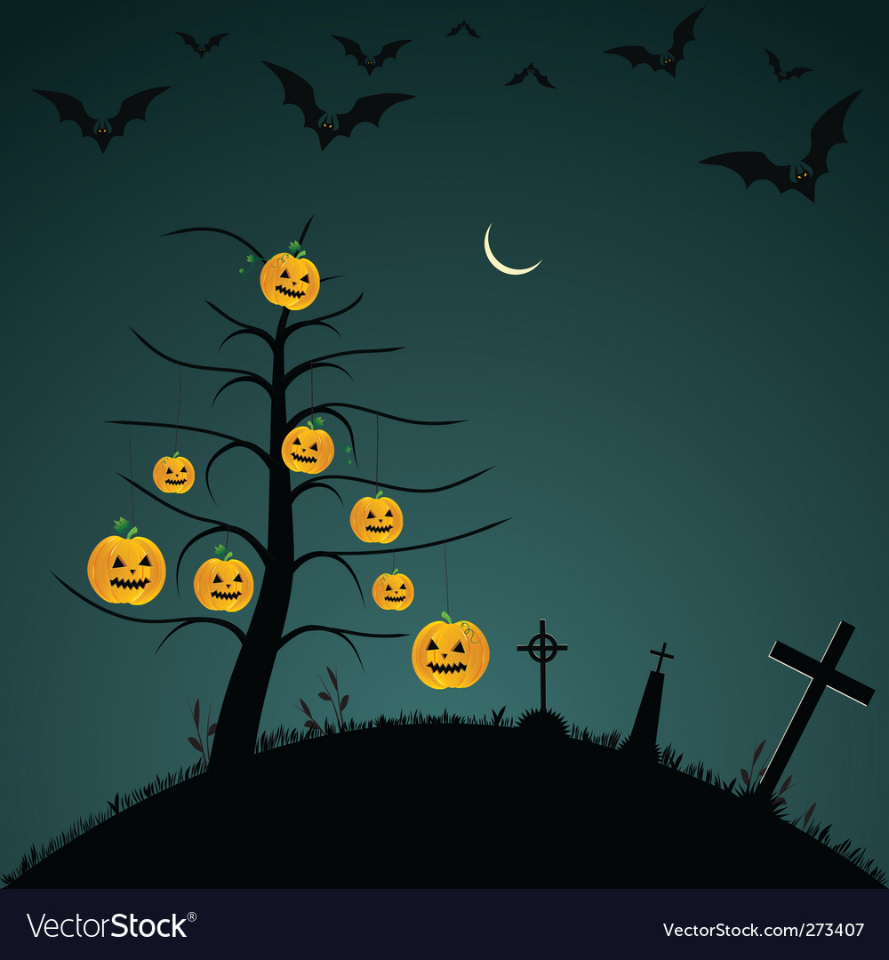Halloween background with bats pumpkins vector | Price: 1 Credit (USD $1)