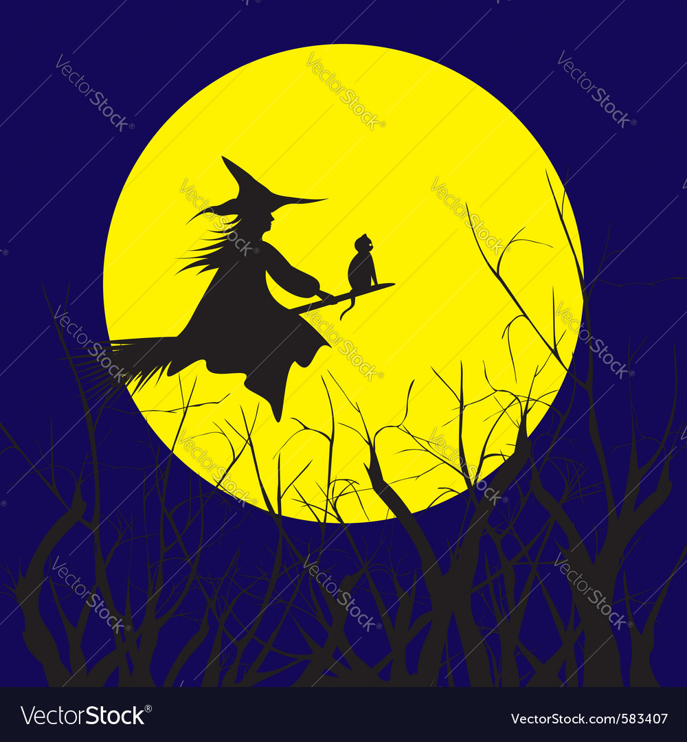 Halloween witch silhouette vector | Price:  Credit (USD $)