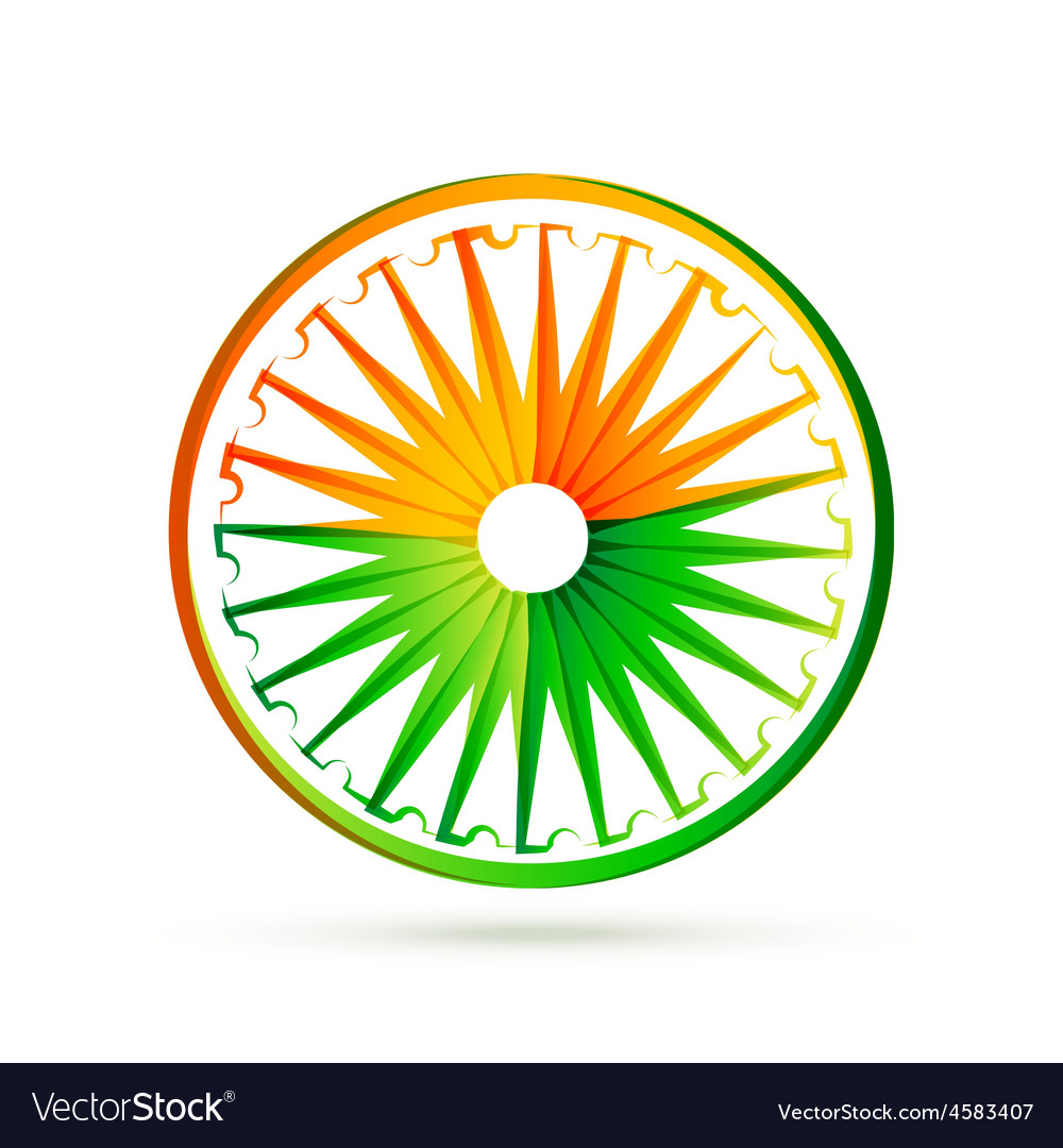 Indian flag wheel design with tri colors vector | Price: 1 Credit (USD $1)