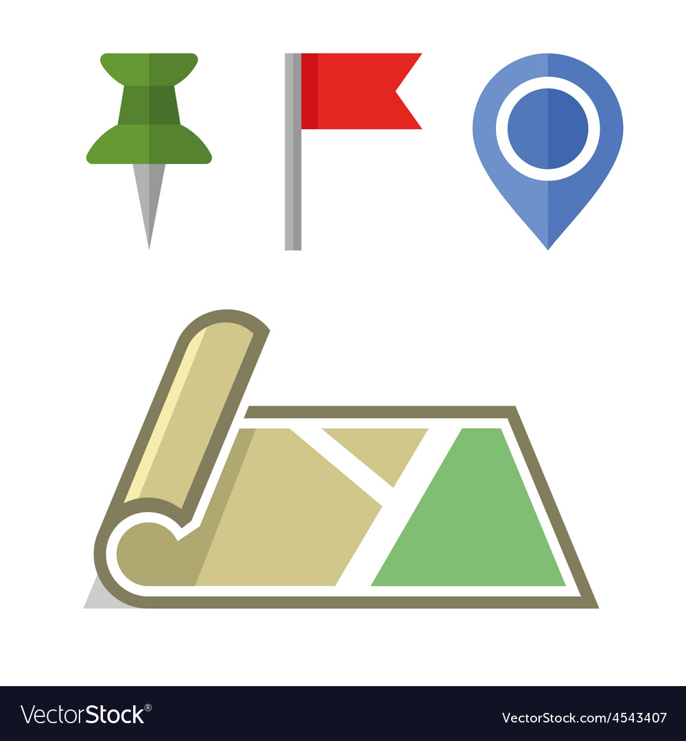 Map icon with different pins set vector | Price: 1 Credit (USD $1)