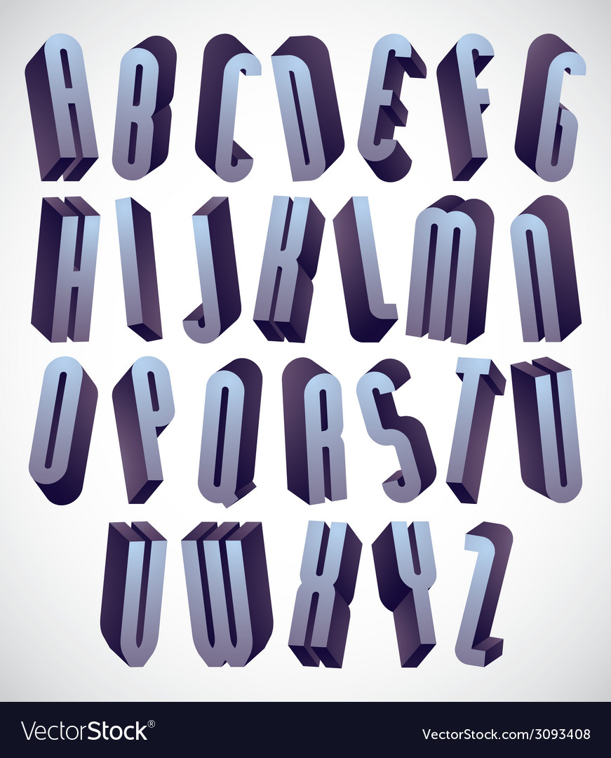 3d tall and thin font monochrome dimensional vector | Price: 1 Credit (USD $1)