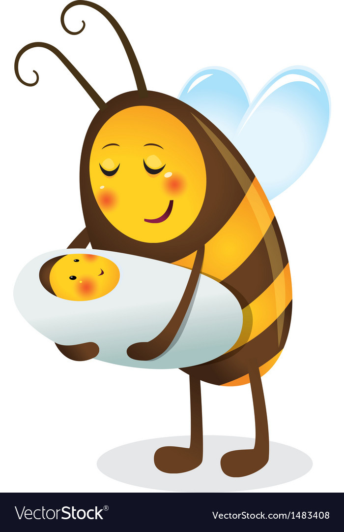 Bee mother and child vector | Price: 1 Credit (USD $1)