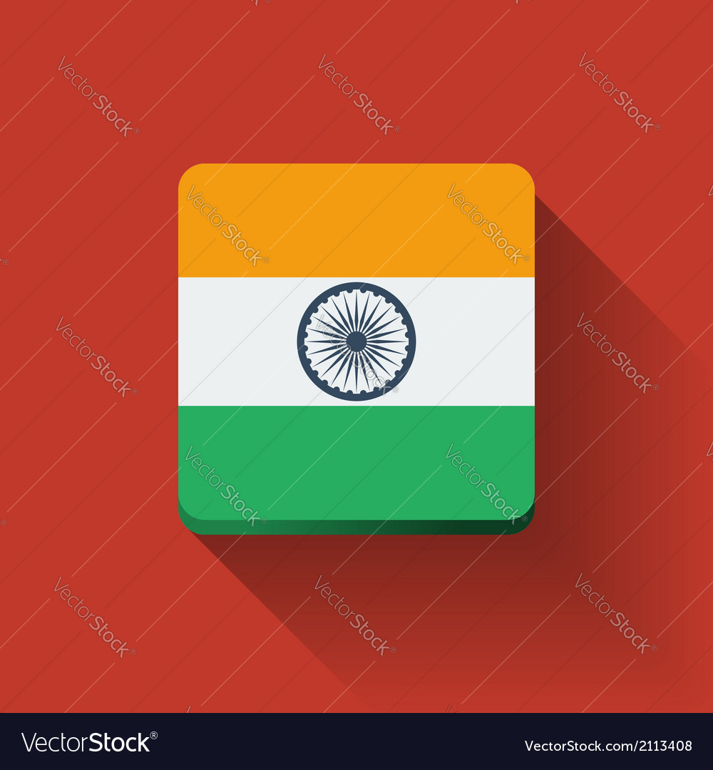 Button with flag of india vector | Price: 1 Credit (USD $1)