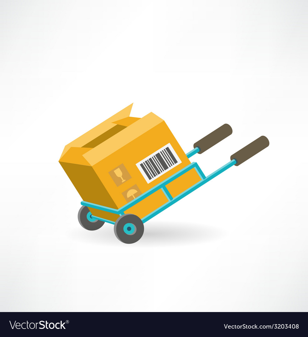 Cargo box on the cart icon vector | Price: 1 Credit (USD $1)