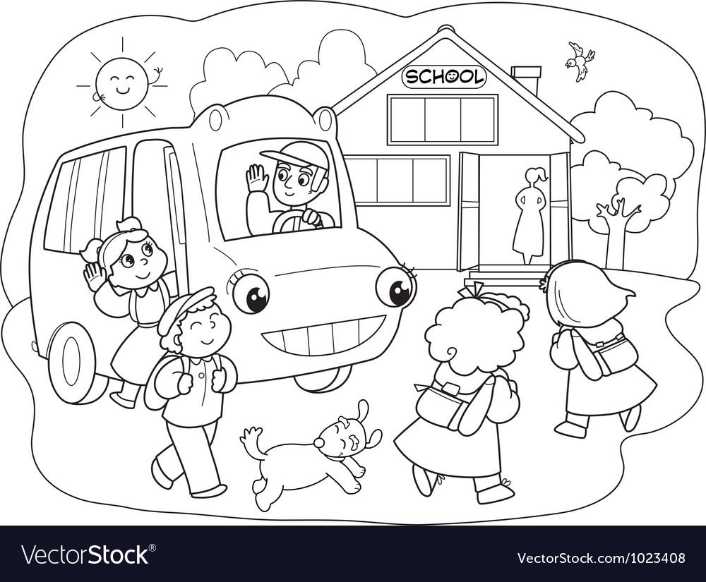 Cartoon pupils on schoolbus vector | Price: 1 Credit (USD $1)