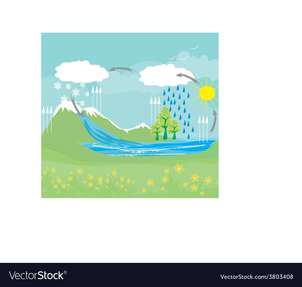 Cycle water in nature environment vector | Price: 1 Credit (USD $1)