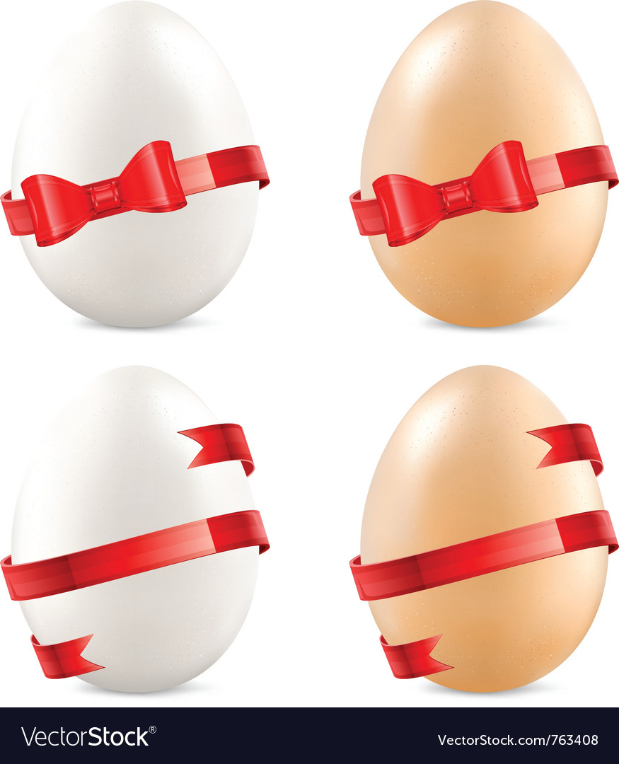 Eggs with red bow vector | Price: 1 Credit (USD $1)