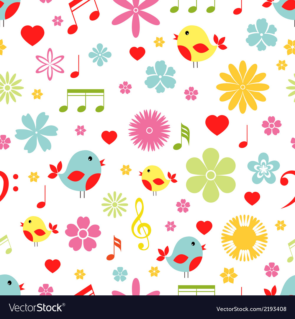 Flowers birds and music notes seamless pattern vector | Price: 1 Credit (USD $1)
